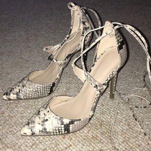 Snake skin pointed toe heels